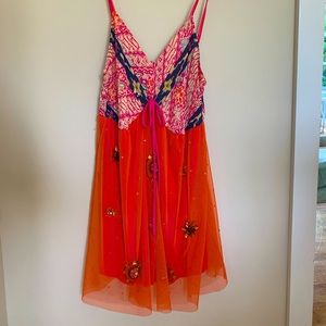 Spaghetti strap baby doll sequined top size M